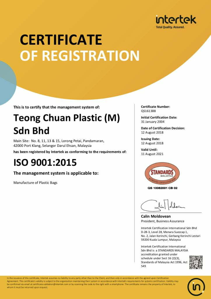 ISO 9001:2014 certificate for Teong Chuan Plastic
