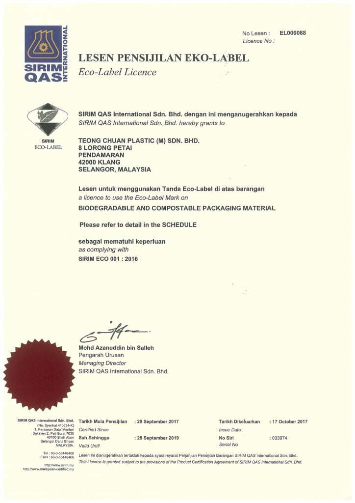 SIRIM Eco-label Mark certificate for Teong Chuan Plastic
