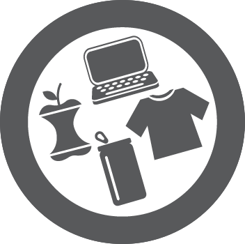 PC, Apple, candle, clothing icon