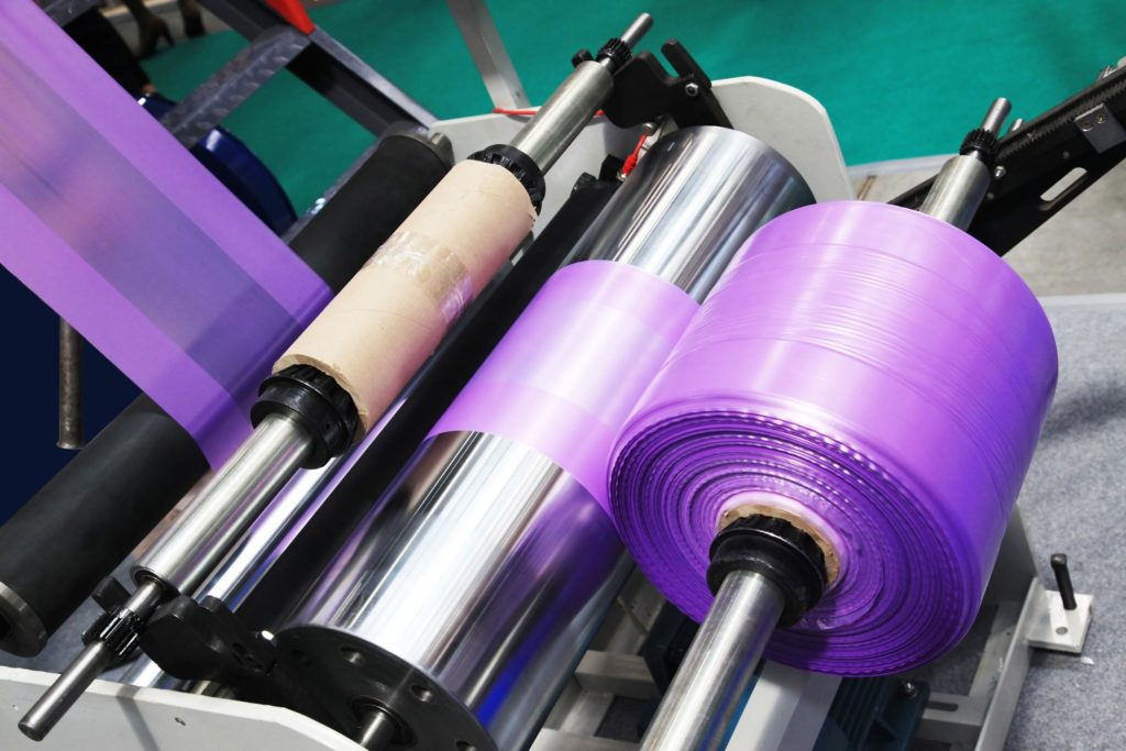 purple blown film rolls
