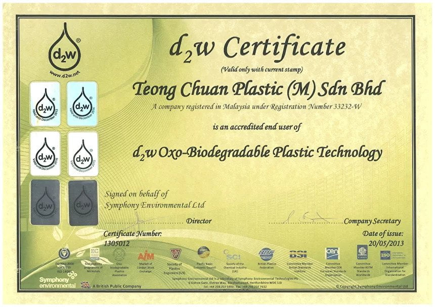 D2w certificate for Teong Chuan Plastic